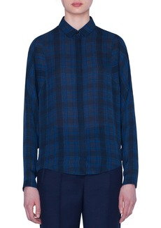 Akris Plaid Silk Full-Sleeve Shirt