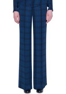 Akris Plaid Silk High-Rise Flare Pants