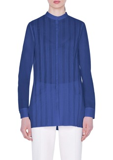 Akris Pleated Cotton Voile Shirt