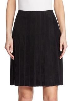 Akris Pleated Suede Skirt