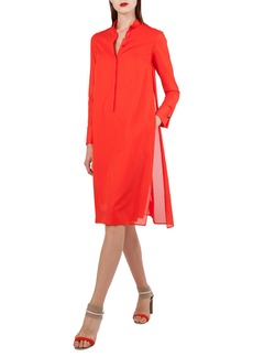 Akris Polo-Style Long-Sleeve Cotton Voile Tunic Dress