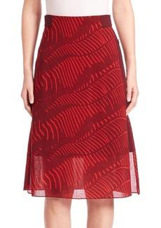 Akris Printed Wool A-Line Skirt