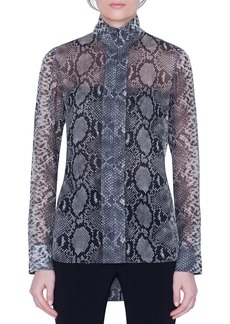 Akris Python-Print Silk Funnel-Neck Tunic