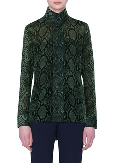 Akris Python Print Silk Georgette Tunic Blouse