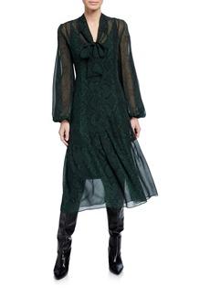 Akris Python Silk Tie-Neck Midi Dress