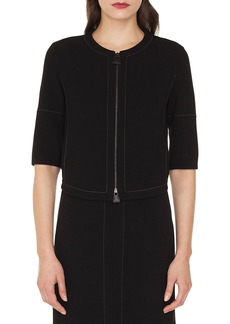 Akris Ramona Topstitch Double Face Stretch Wool Jacket