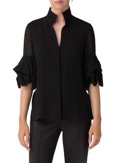 Akris Relaxed Cube Sleeve Silk Georgette Blouse