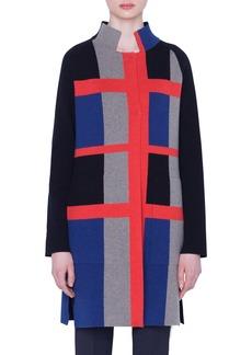 Akris Reversible Plaid Jacquard Cashmere Sweater Coat
