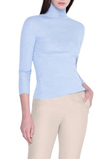 Akris Rib Cashmere & Silk Mock Neck Sweater