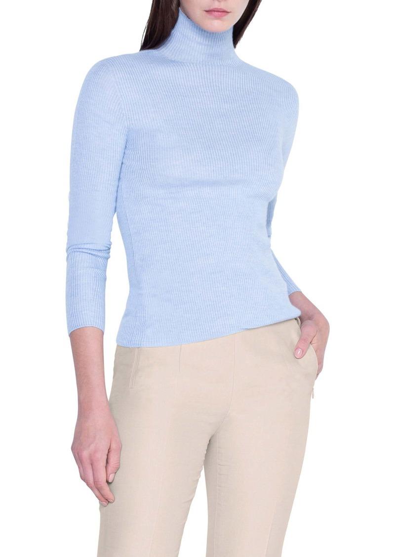 Akris Rib Cashmere & Silk Mock Neck Sweater