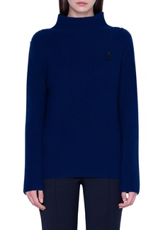Akris Rib Zip Shoulder Cashmere Sweater