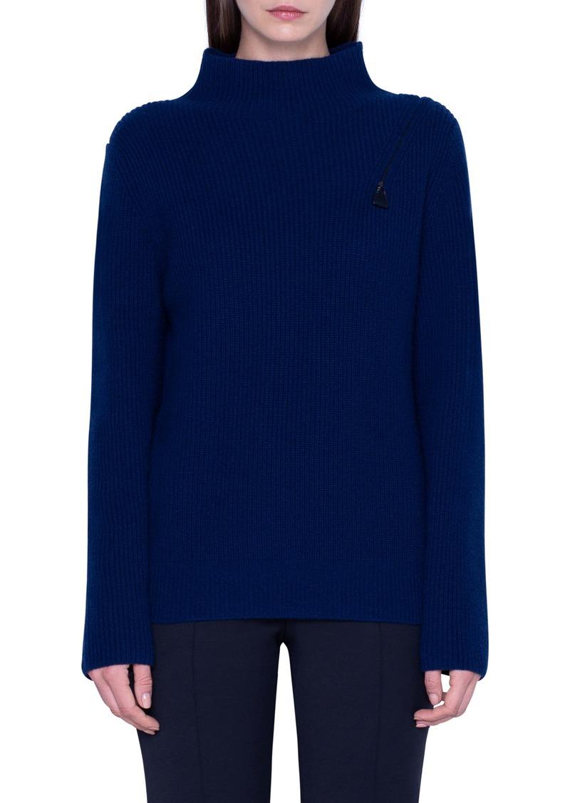 Akris Rib Zip Shoulder Cashmere Sweater