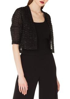 Akris Ricarda Elbow-Sleeve Stripe-Ribbon Organza Short Jacket