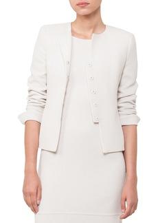 Akris Round-Neck Wool-Crepe Jacket
