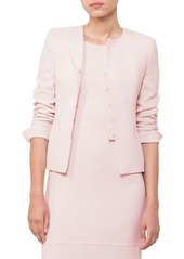 Akris Round-Neck Wool-Crepe Jacket