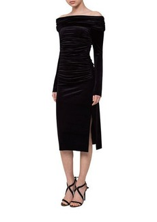 Akris Ruched Off-the-Shoulder Velvet Midi Dress