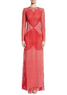 Akris Sansusie Heart-Embroidered Long-Sleeve Evening Gown with Side Slits
