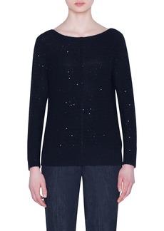 Akris Sequined Cashmere-Blend Crewneck Sweater