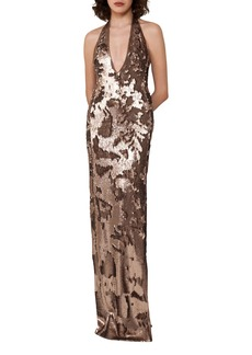 Akris Sequined Jersey Halter Gown  Gold