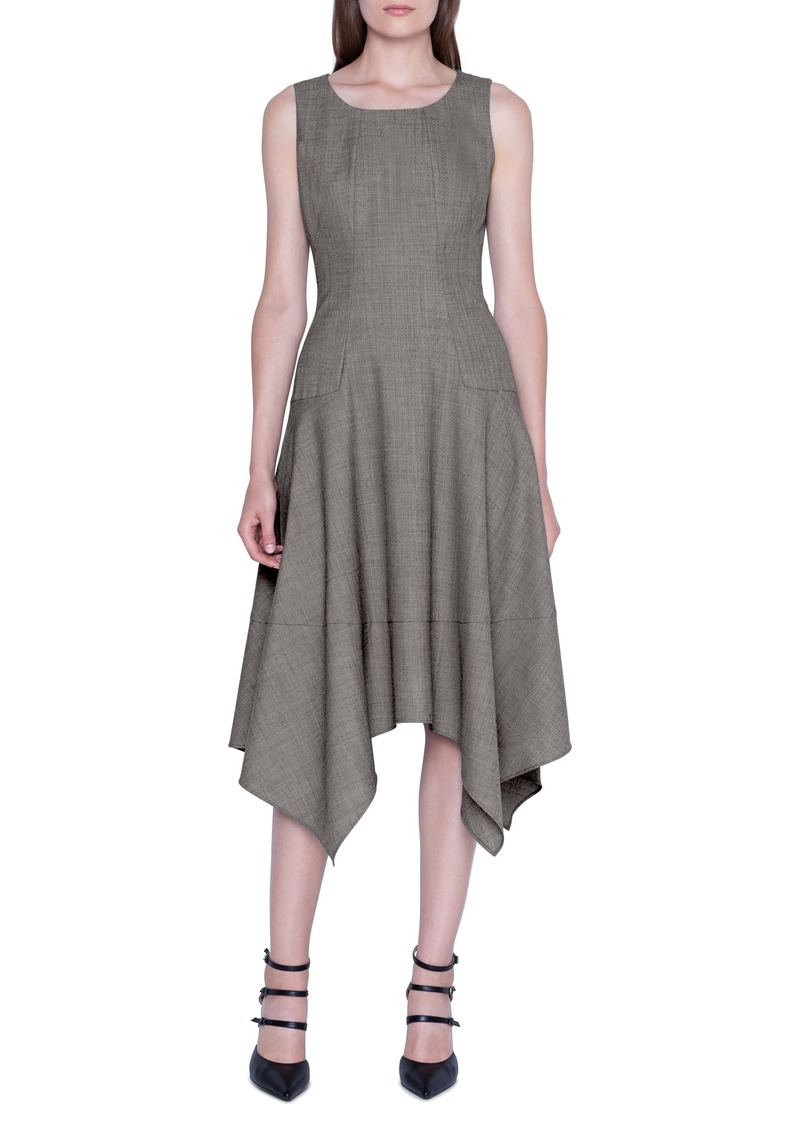 Akris Sharkbite Hem Sleeveless Wool Dress