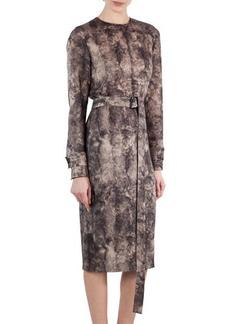 Akris Shearling-Print Wool Belted Dress