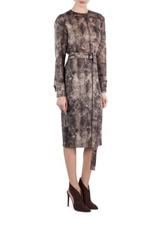 Akris Shearling-Print Wool Belted Dress