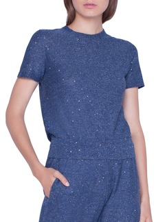 Akris Shimmer  Sequined Short-Sleeve Sweater