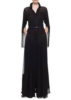Akris Shirt-Collar Pleated-Skirt Metallic Georgette Evening Gown