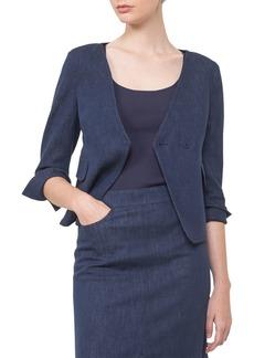 Akris Short Denim Wrap-Front Jacket