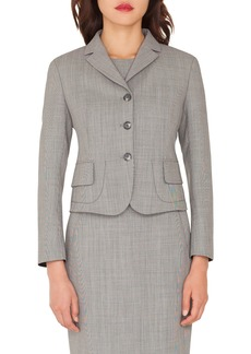 Akris Short End-on-End Woven Wool-Blend Jacket