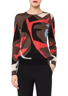 Akris Silk & Cotton Intarsia Knit Sweater