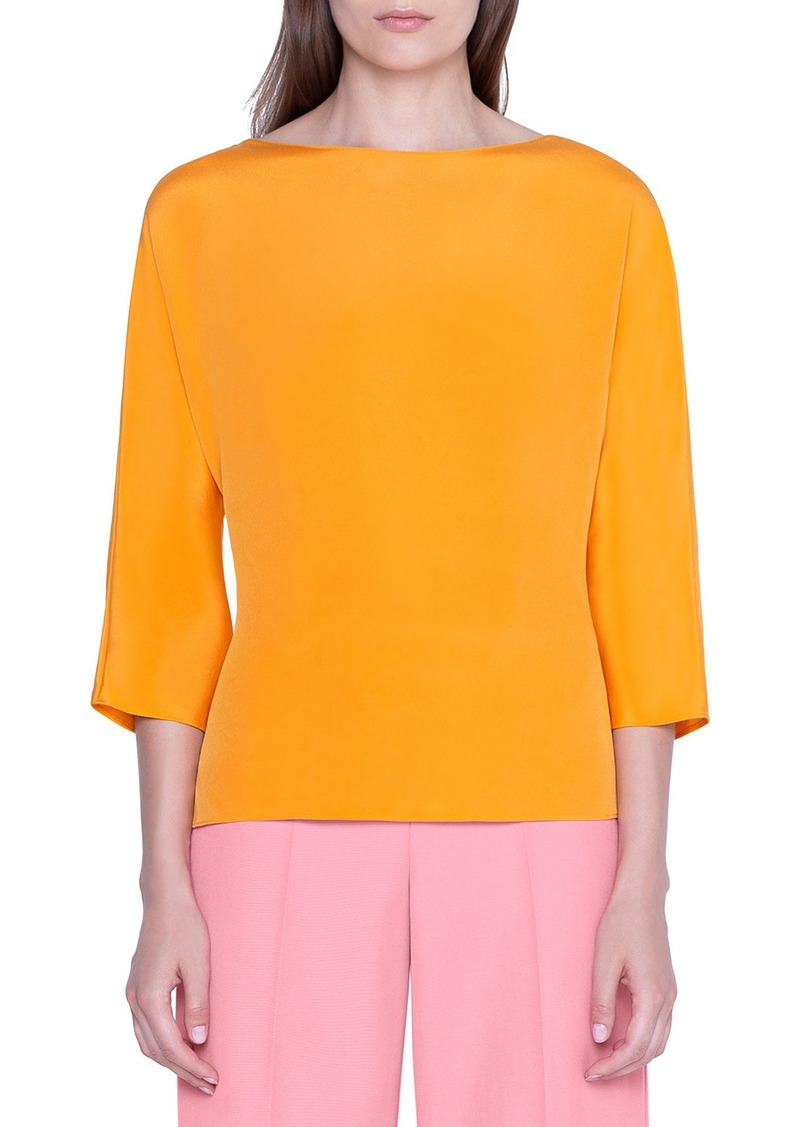 Akris Silk Crepe 3/4-Sleeve Top