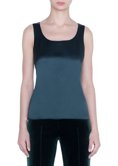 Akris Silk Georgette Scoop-Neck Tank Top