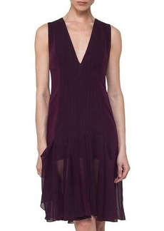 Akris Silk Georgette Sleeveless V-Neck Pleated Dress