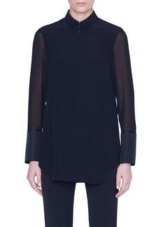 Akris Silk Horsehair Cuff Button-Front Blouse