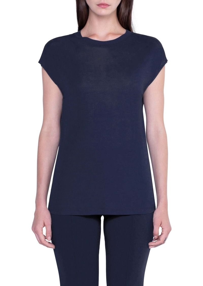 Akris Silk Jersey Cap Sleeve Top