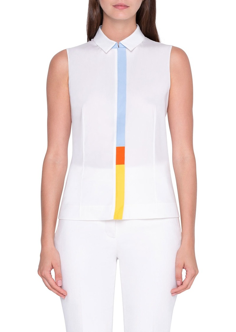 Akris Sleeveless Colorblocked-Placket Shirt