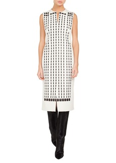 Akris Sleeveless Front-Zip Hotel-Facade Embroidered Sheath Dress w/ Slits