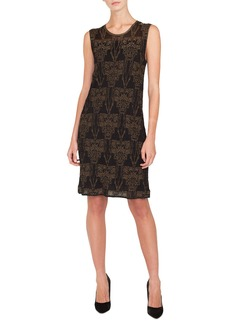 Akris Sleeveless Fruits of Vienna Jacquard Metallic Knit Knee-Length Dress