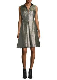 Akris Sleeveless Metallic Jacquard Fit-&-Flare Dress