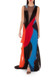 Akris Sleeveless Multicolor Gown w/ Illusion Inserts