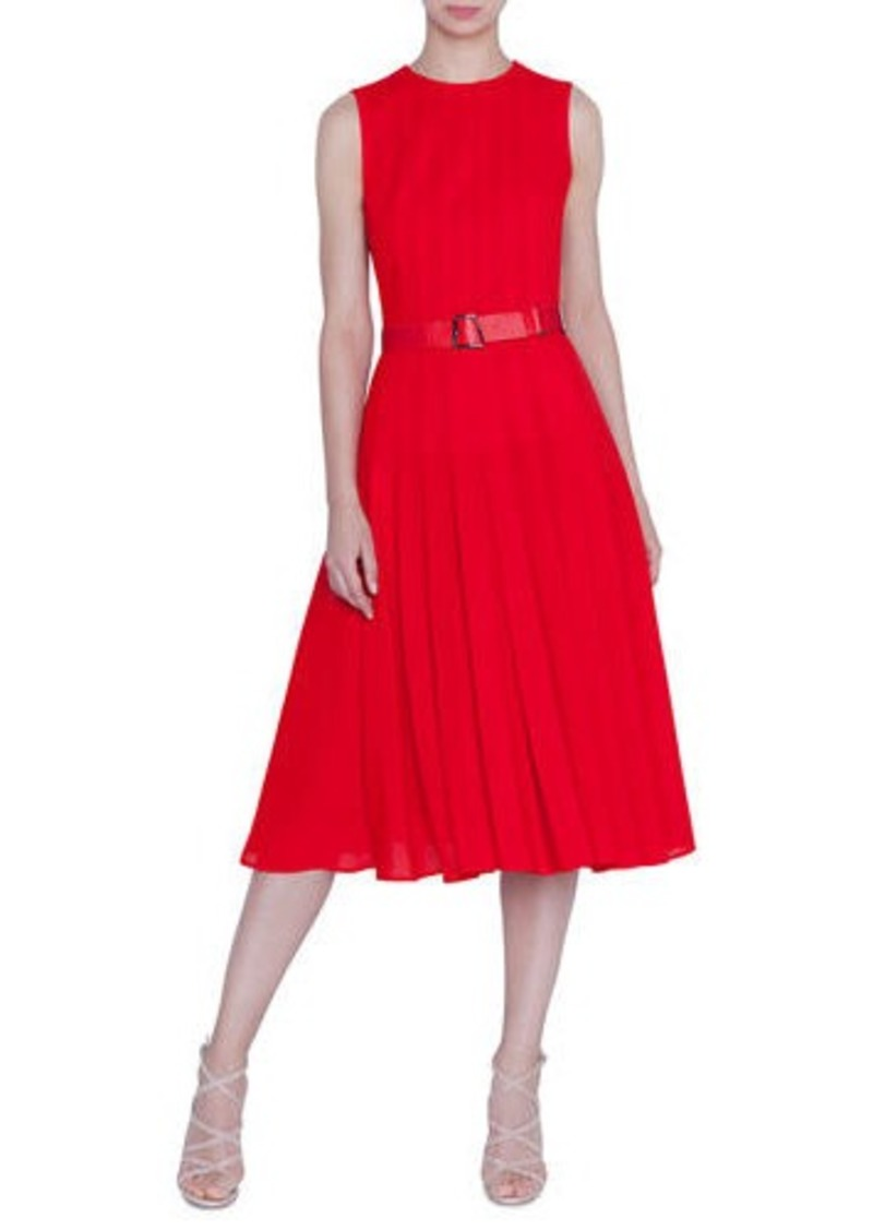Akris Sleeveless Pleated A-Line Dress