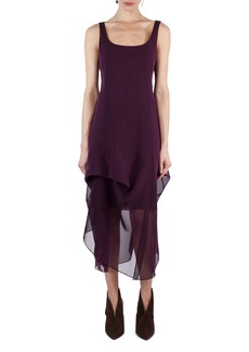 Akris Sleeveless Scoop-Neck Chiffon Dress