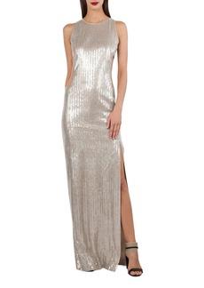 Akris Sleeveless Sequined V-Back Gown