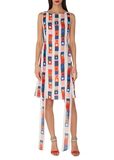 Akris Sleeveless Super-Stripe Photo-Print Silk Carwash Dress