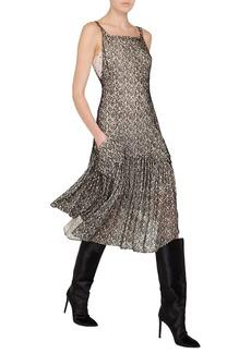Akris Sleeveless Velvet Burnout Godet Midi Cocktail Dress with Pockets