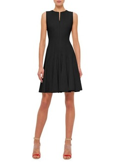 Akris Sleeveless Zip-Front Seamed A-Line Cotton Dress