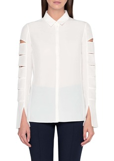 Akris Slit Sleeve Crepe Shirt