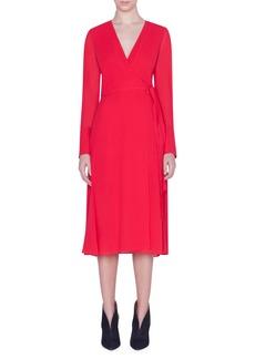 Akris Slit Sleeve Silk Georgette Wrap Dress