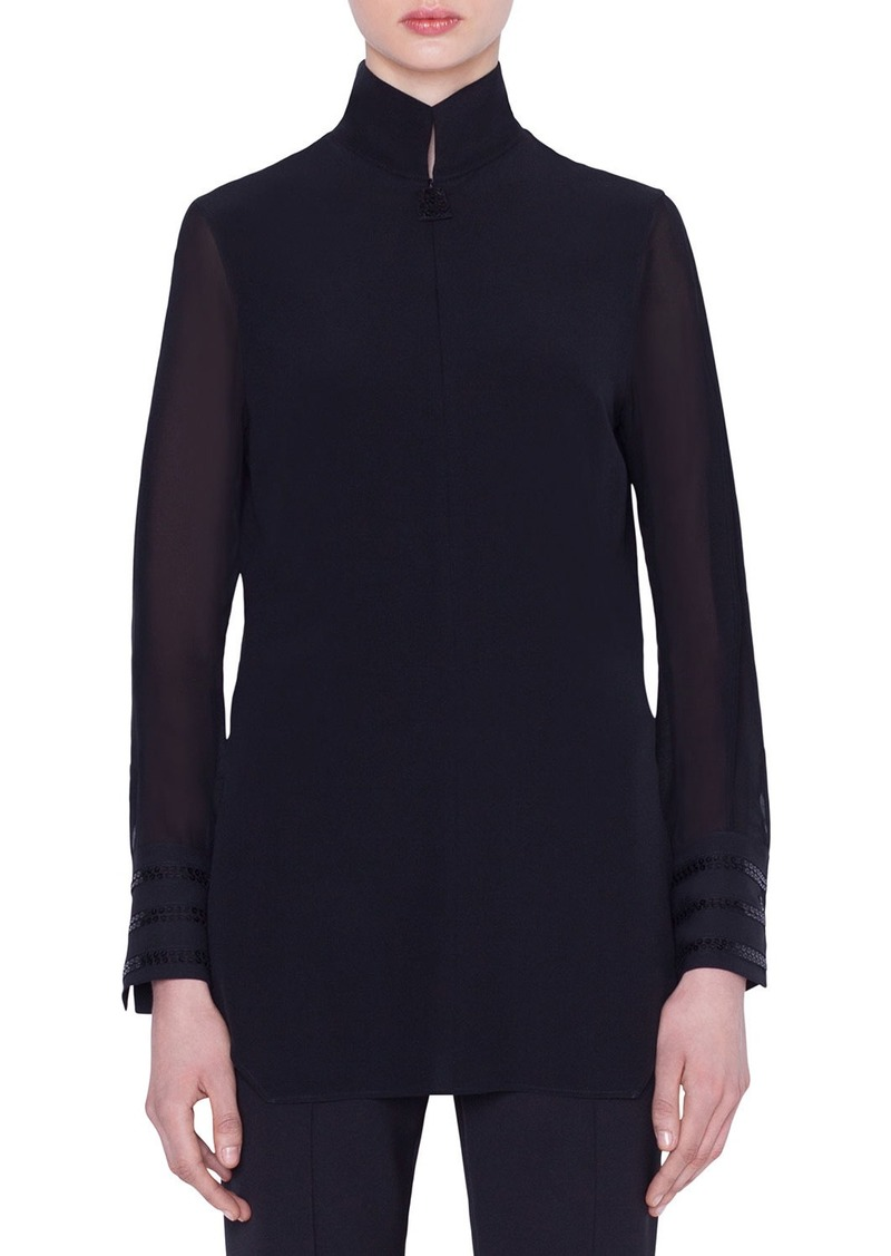 Akris Slit-Sleeve Silk Voile Tunic